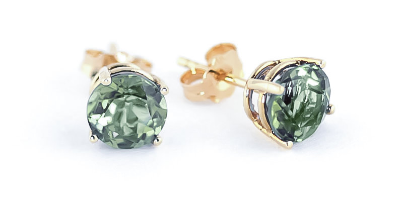 Green Amethyst Stud Earrings 3.1 ctw in 9ct Gold