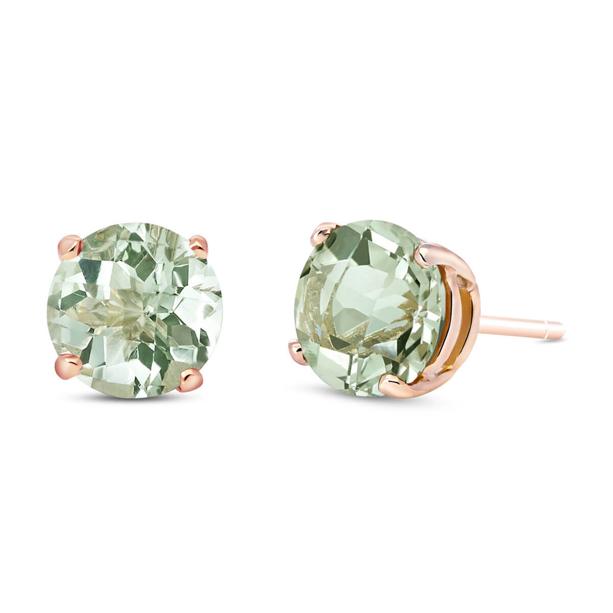 Green Amethyst Stud Earrings 3.1 ctw in 9ct Rose Gold