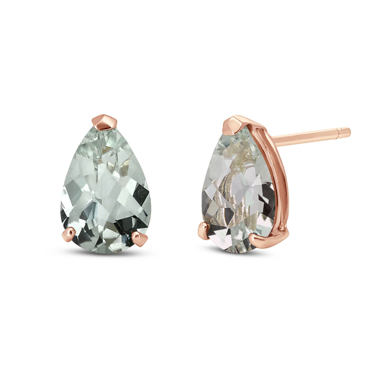 Green Amethyst Stud Earrings 3.15 ctw in 9ct Rose Gold