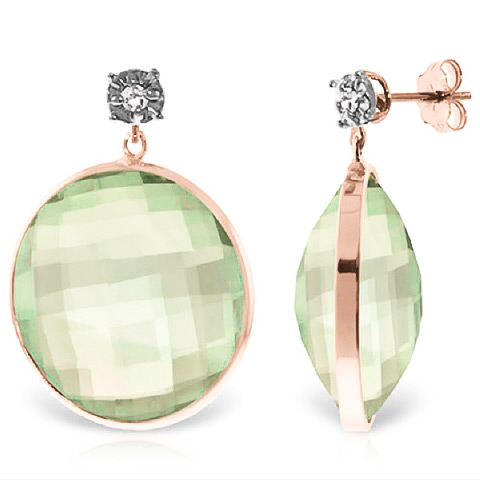 Green Amethyst Stud Earrings 36.06 ctw in 9ct Rose Gold