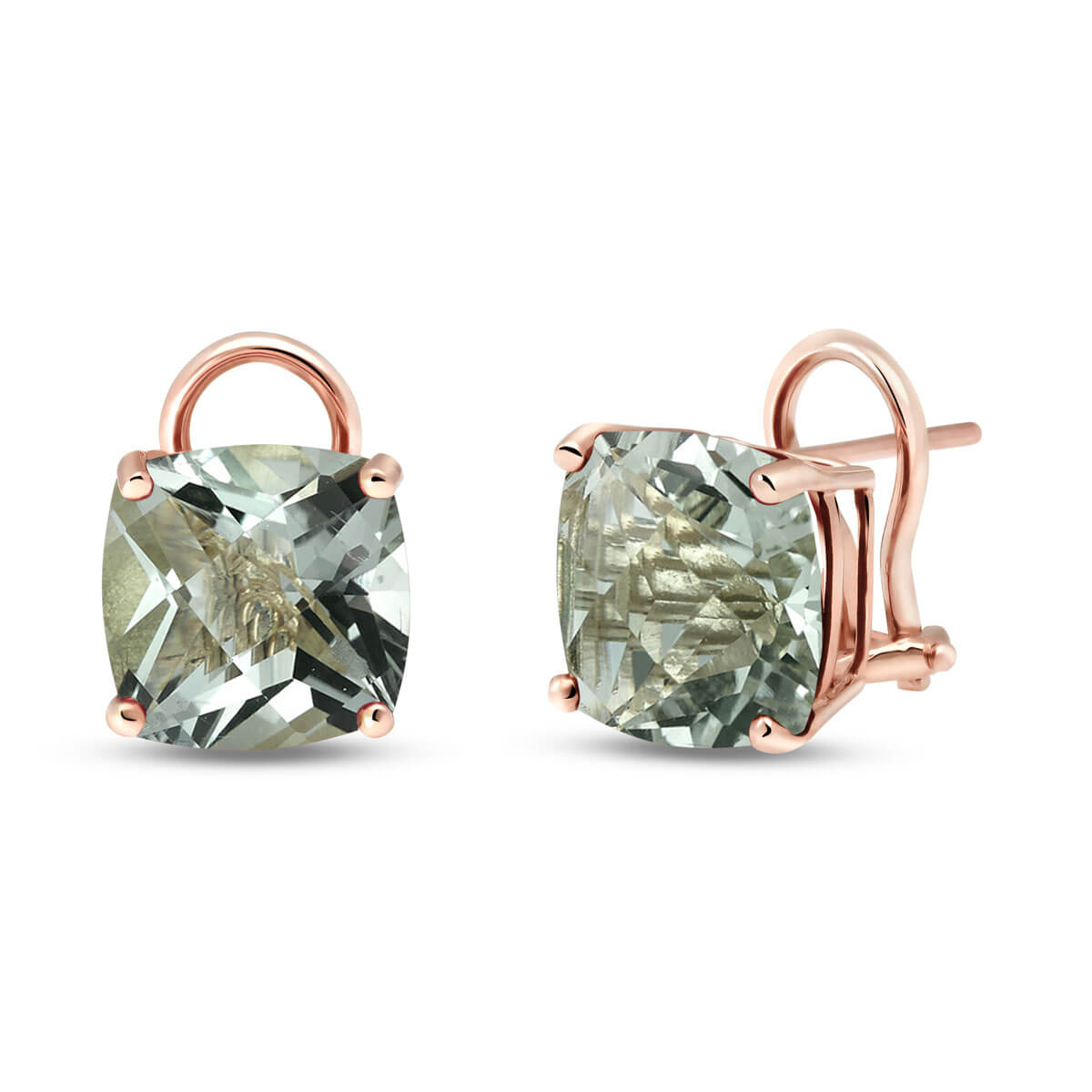 Green Amethyst Stud Earrings 7.2 ctw in 9ct Rose Gold