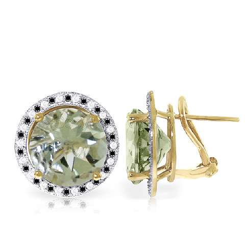 Green Amethyst Stud French Clip Earrings 10.4 ctw in 9ct Gold