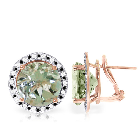 Green Amethyst Stud French Clip Halo Earrings 10.4 ctw in 9ct Rose Gold