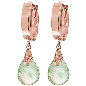 Green Amethyst Teardrop Earrings 6 ctw in 9ct Rose Gold
