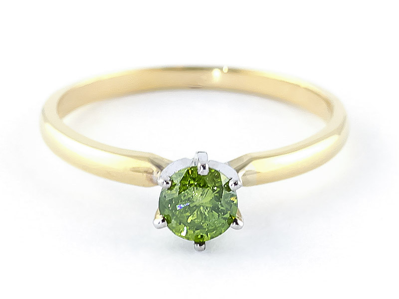 Green Diamond Crown Solitaire Ring 0.5 ct in 9ct Gold