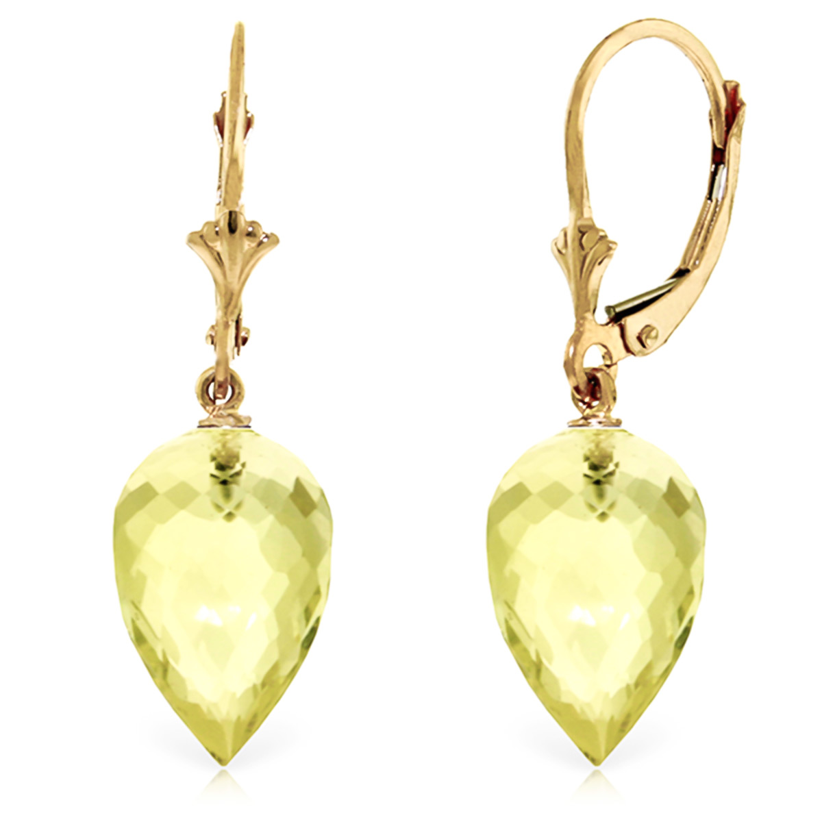 Lemon Quartz Briolette Drop Earrings 18 ctw in 9ct Gold