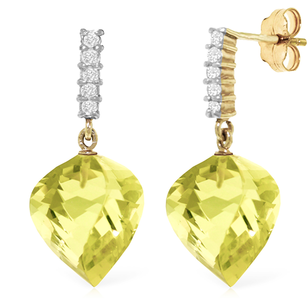 Lemon Quartz Stud Earrings 21.65 ctw in 9ct Gold