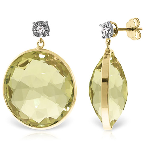 Lemon Quartz Stud Earrings 34.06 ctw in 9ct Gold