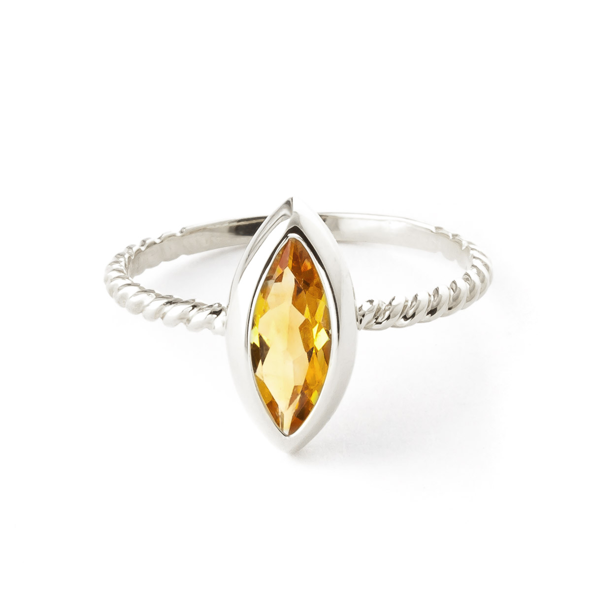 Marquise Cut Citrine Ring 1.7 ct in 9ct White Gold