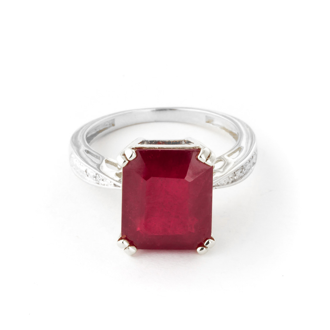 Octagon Cut Ruby Ring 7.27 ctw in 18ct White Gold