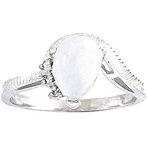 Opal & Diamond Belle Ring in 18ct White Gold