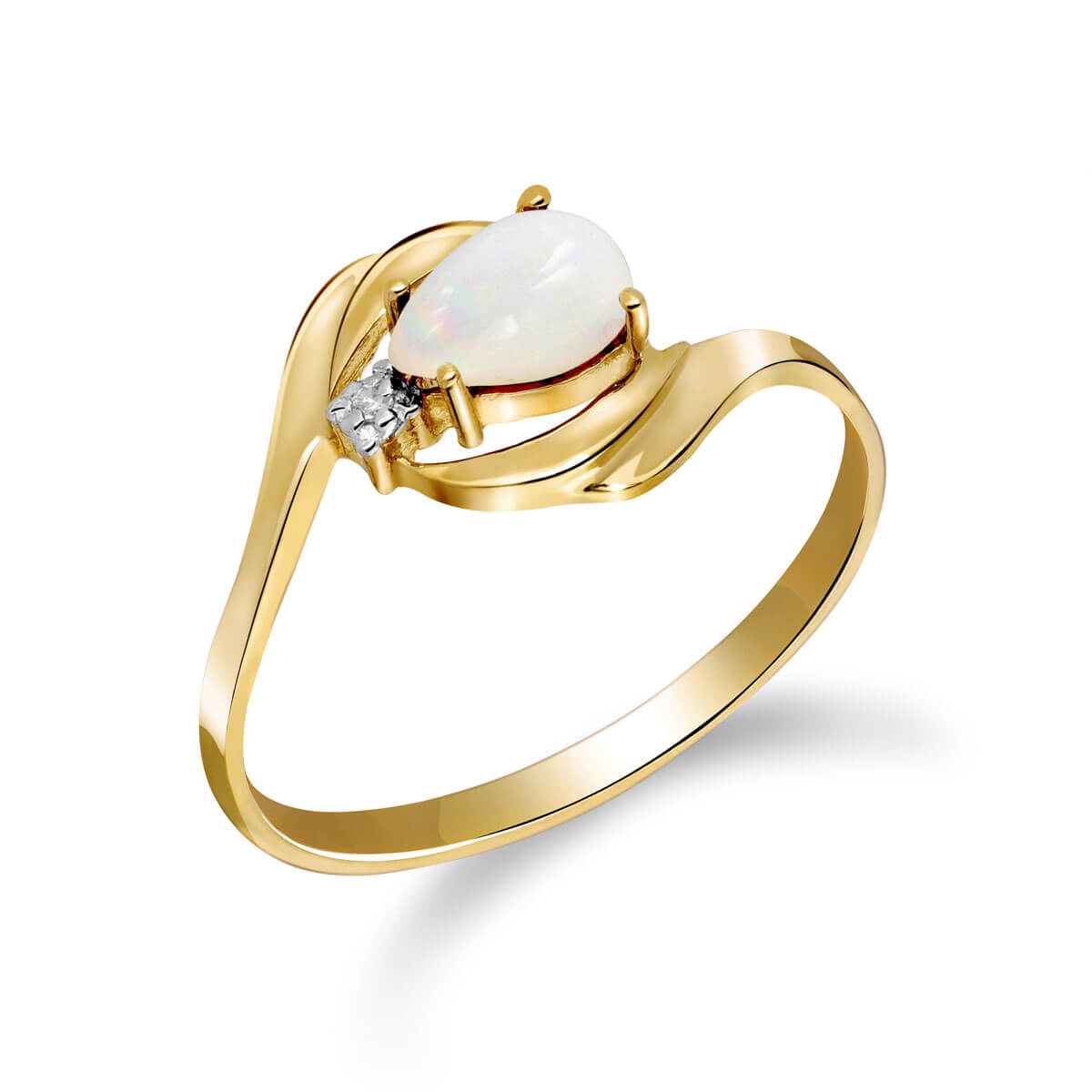 Opal & Diamond Flare Ring in 9ct Gold