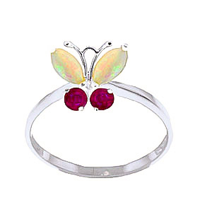 Opal & Ruby Butterfly Ring in 9ct White Gold