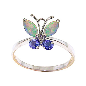 Opal & Tanzanite Butterfly Ring in 9ct Rose Gold