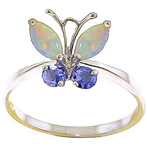 Opal & Tanzanite Butterfly Ring in 18ct White Gold