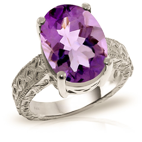 Oval Cut Amethyst Ring 7.5 ct in 18ct White Gold
