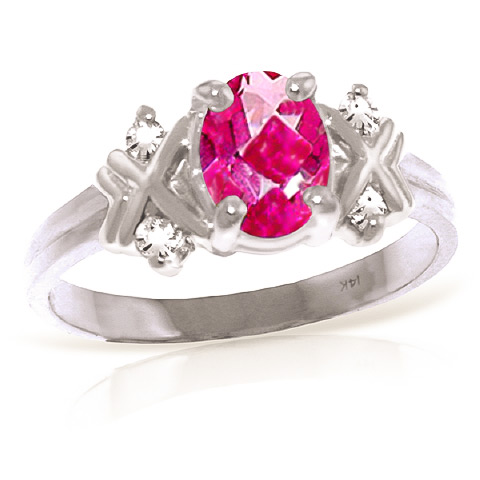 Oval Cut Pink Topaz Ring 0.97 ctw in 9ct White Gold