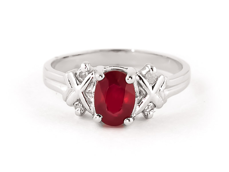 Oval Cut Ruby Ring 1.47 ctw in 18ct White Gold