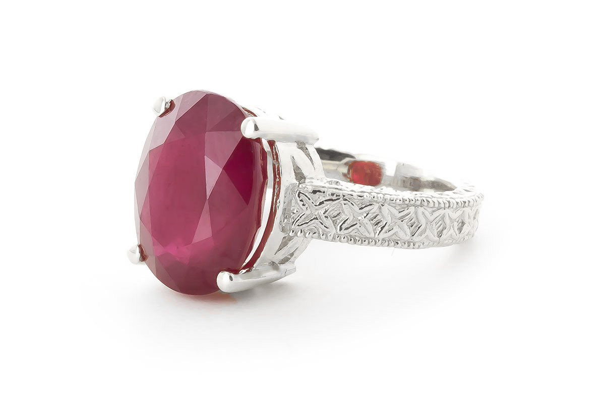 Oval Cut Ruby Ring 8 ct in 18ct White Gold