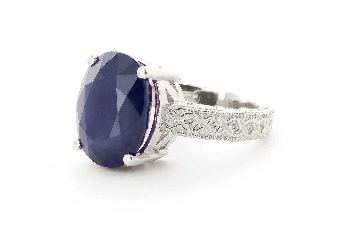 Oval Cut Sapphire Ring 8.5 ct in 9ct White Gold