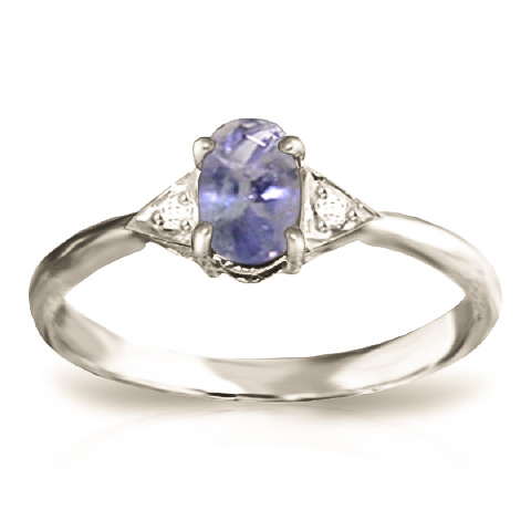 Oval Cut Tanzanite Ring 0.41 ctw in 18ct White Gold