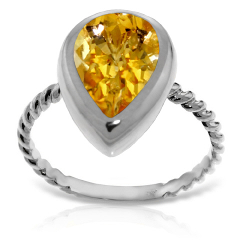 Pear Cut Citrine Ring 2.5 ct in 18ct White Gold