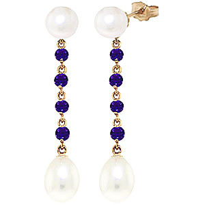Pearl & Amethyst by the Yard Drop Earrings in 9ct Gold
