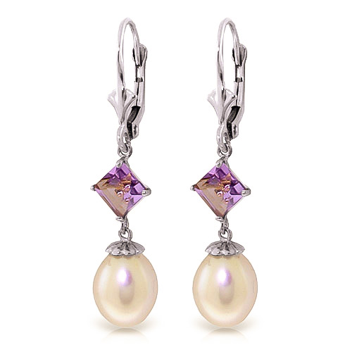 Pearl & Amethyst Droplet Earrings in 9ct White Gold
