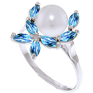 Pearl & Blue Topaz Ivy Ring in 18ct White Gold