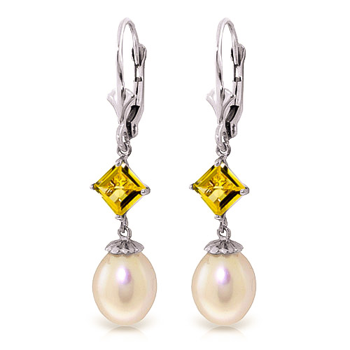 Pearl & Citrine Droplet Earrings in 9ct White Gold