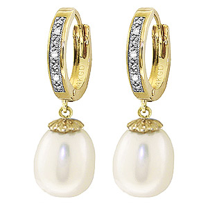 Pearl & Diamond Huggie Earrings in 9ct Gold