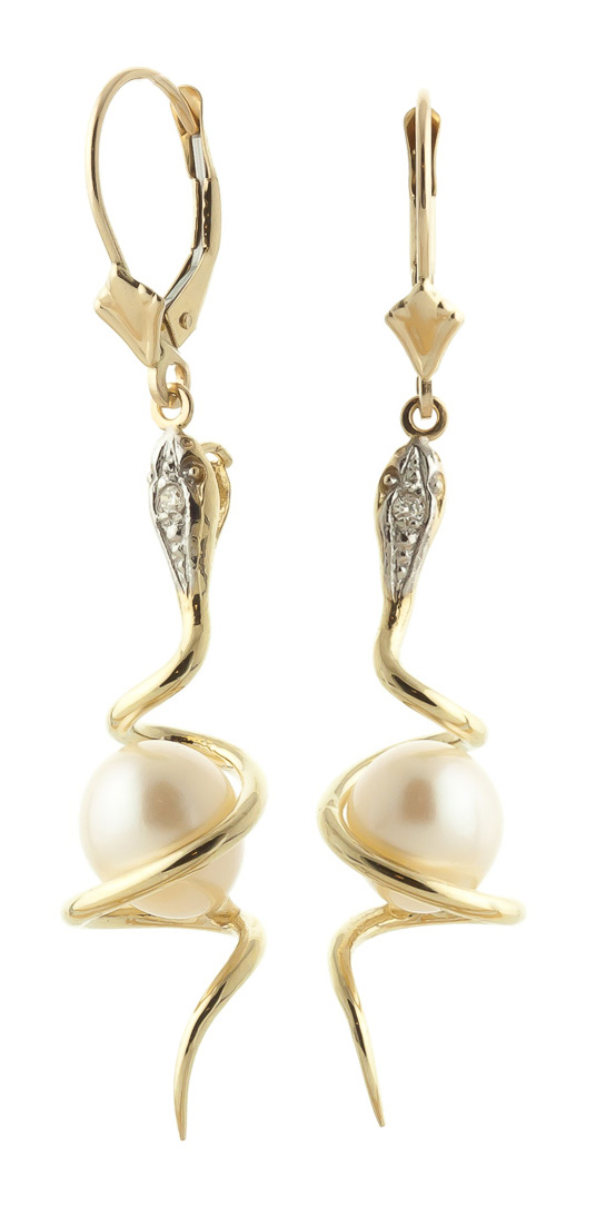 Pearl & Diamond Serpent Earrings in 9ct Gold