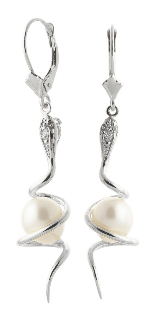 Pearl & Diamond Serpent Earrings in 9ct White Gold