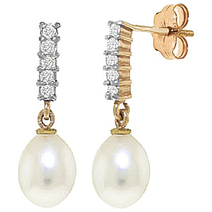 Pearl & Diamond Stem Droplet Earrings in 9ct Gold