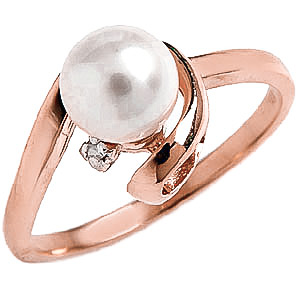Pearl & Diamond Twist Ring in 9ct Rose Gold