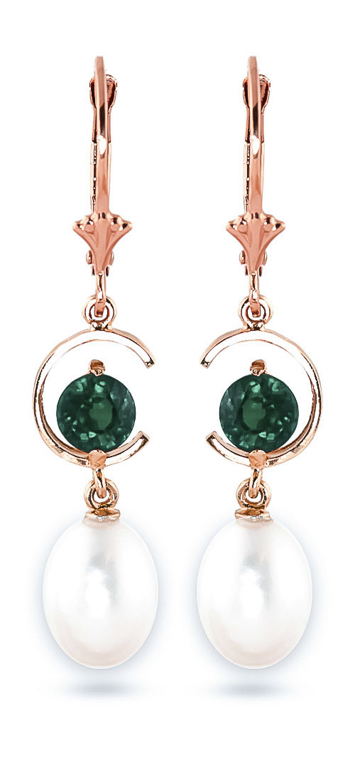 Pearl & Emerald Drop Earrings in 9ct Rose Gold