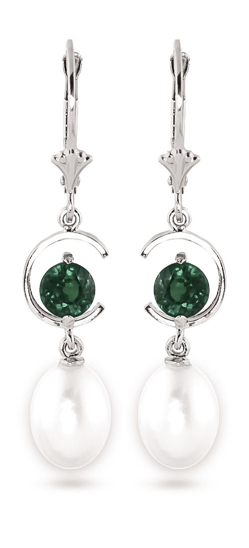 Pearl & Emerald Drop Earrings in 9ct White Gold