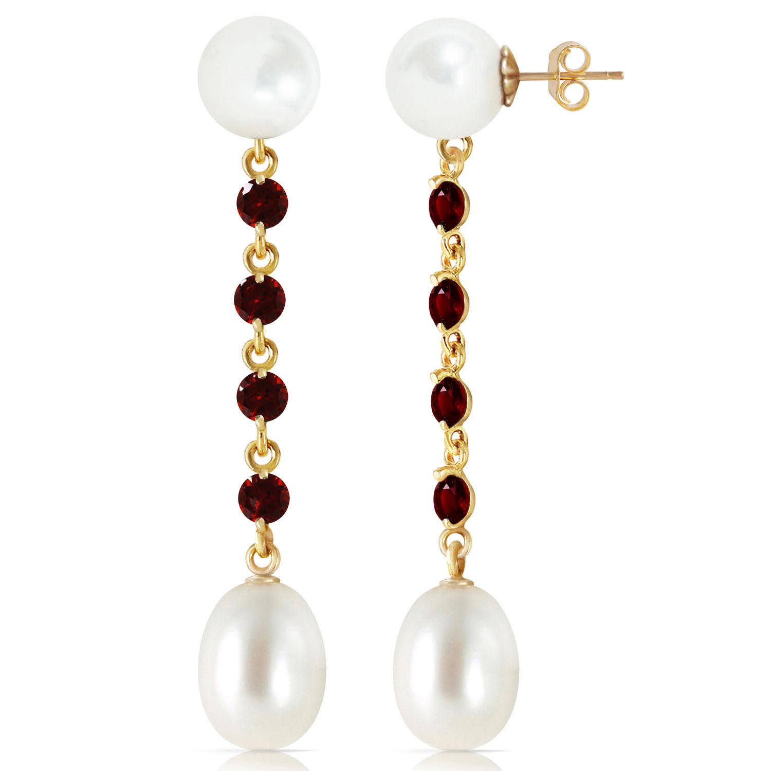 Pearl & Garnet by the Yard Drop Earrings in 9ct Gold