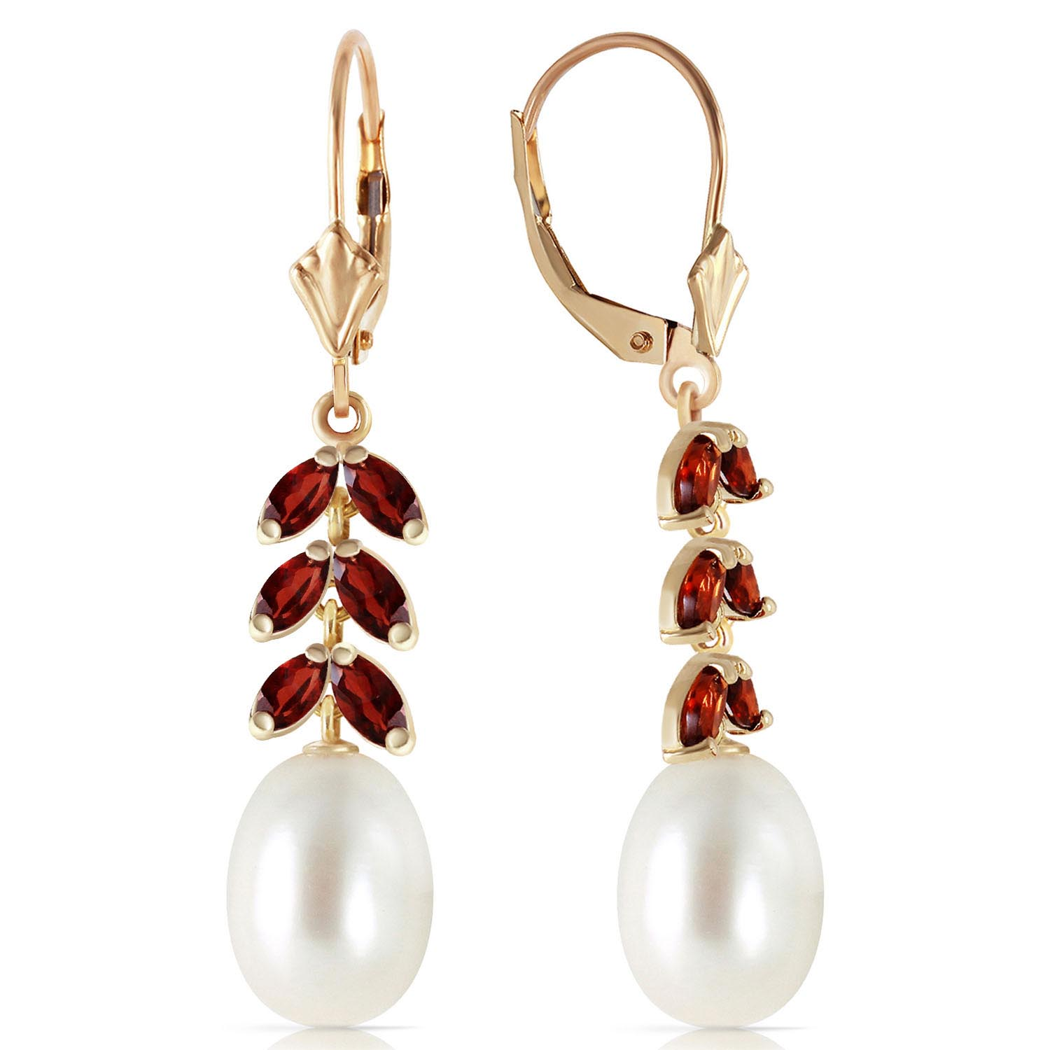 Pearl & Garnet Drop Earrings in 9ct Gold