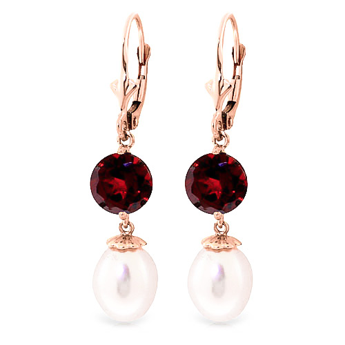 Pearl & Garnet Droplet Earrings in 9ct Rose Gold