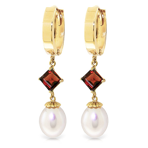 Pearl & Garnet Droplet Huggie Earrings in 9ct Gold