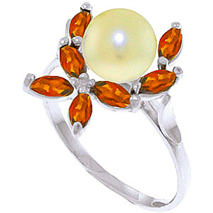 Pearl & Garnet Ivy Ring in 18ct White Gold