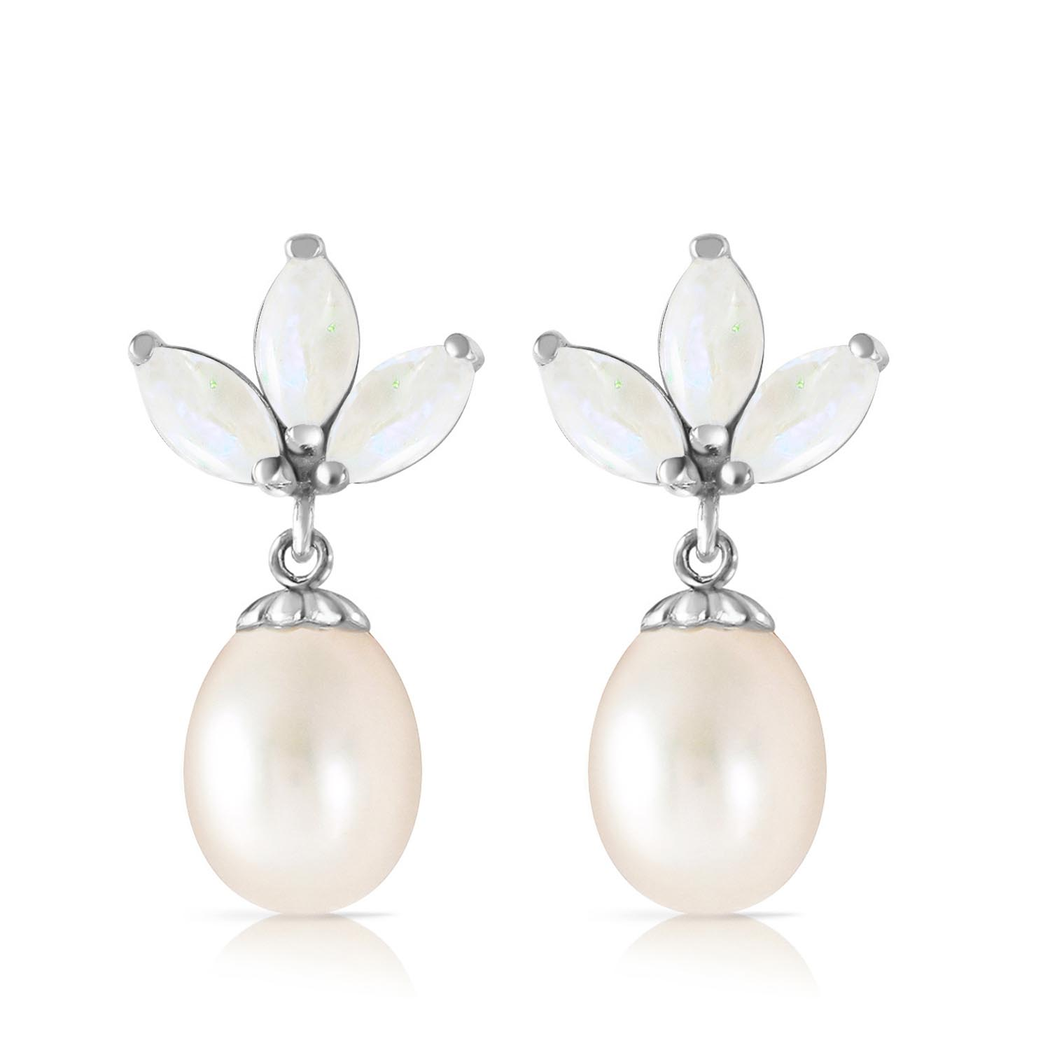 Pearl & Opal Petal Drop Earrings in 9ct White Gold