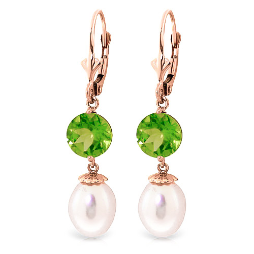 Pearl & Peridot Droplet Earrings in 9ct Rose Gold