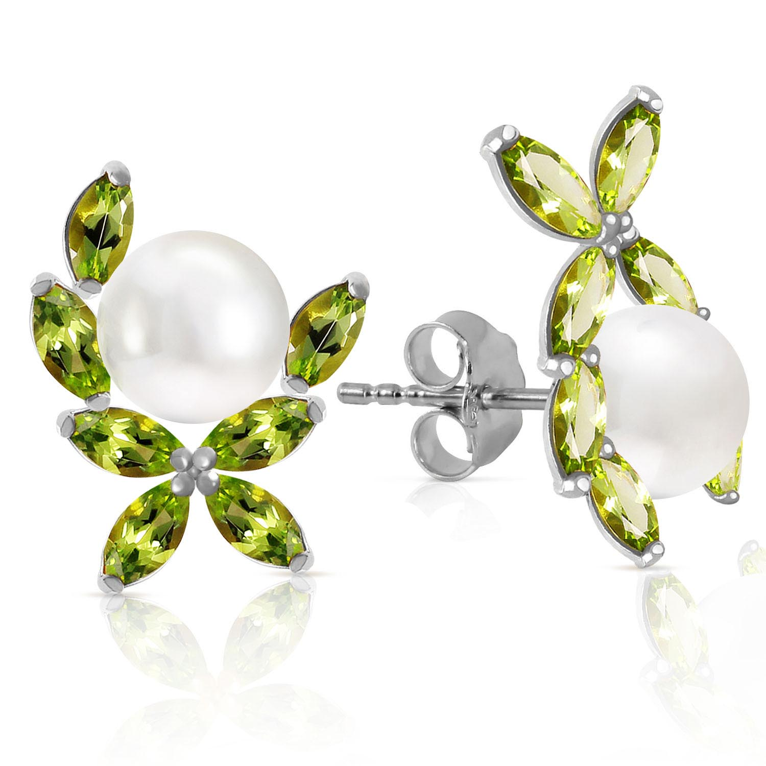 Pearl & Peridot Ivy Stud Earrings in 9ct White Gold