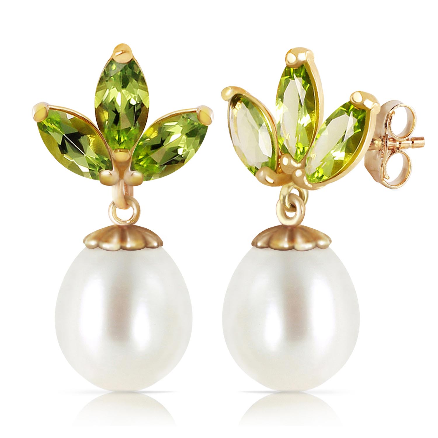 Pearl & Peridot Petal Drop Earrings in 9ct Gold