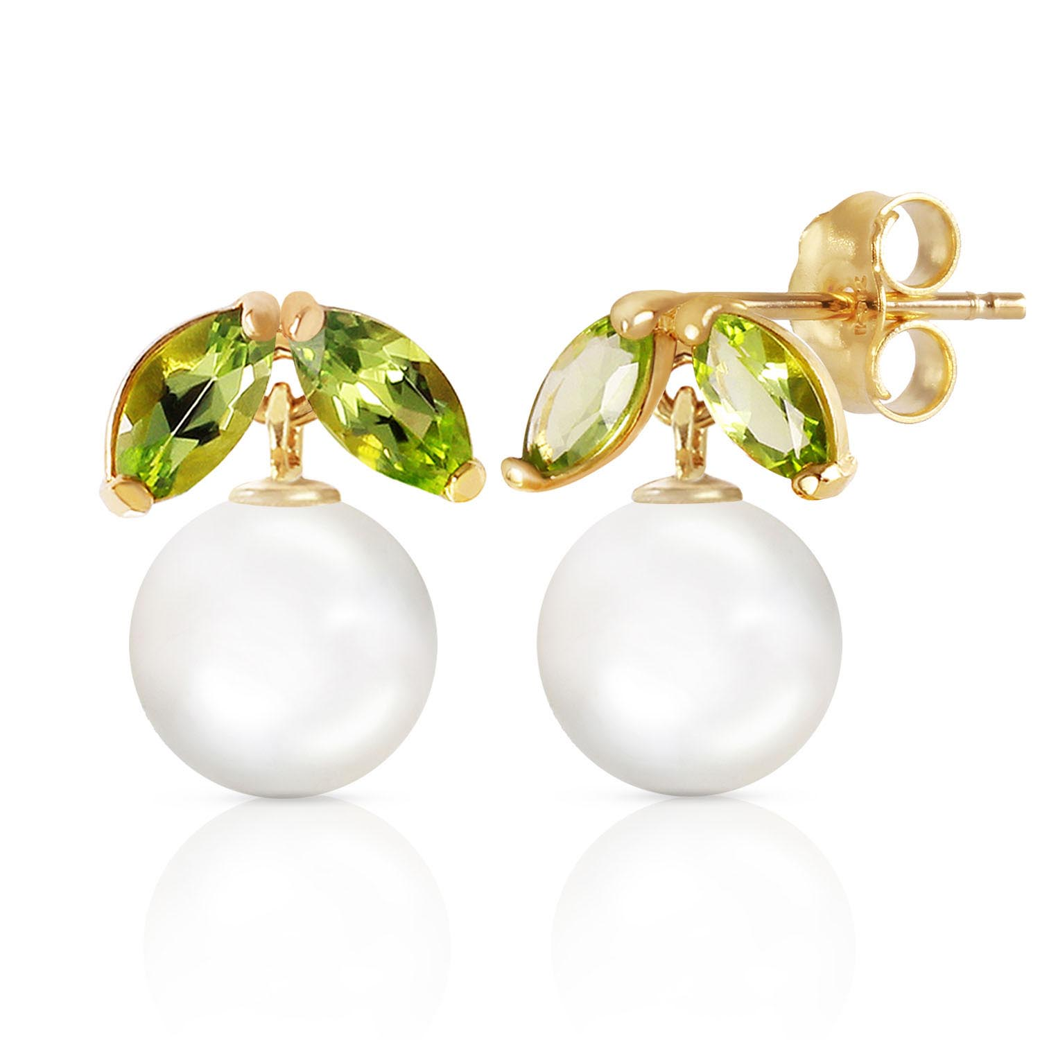 Pearl & Peridot Snowdrop Stud Earrings in 9ct Gold
