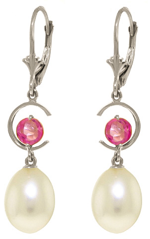 Pearl & Pink Topaz Drop Earrings in 9ct White Gold