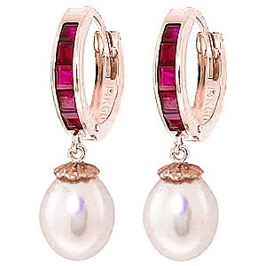 Pearl & Ruby Huggie Earrings in 9ct Rose Gold