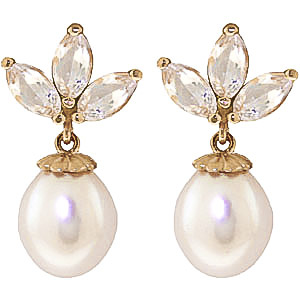 Pearl & White Topaz Petal Drop Earrings in 9ct Gold